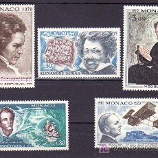 Sellos: MONACO 839/43 SIN CHARNELA, CONMEMORACIONES, LITERATURA, AVION, MUSICA, PINTURA, . Lote 11717599
