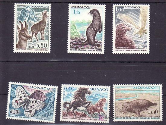 MONACO 809/14 CON CHARNELA, FAUNA, FEDERACION MUNDIAL PARA PROTECCION ANIMALES, MARIPOSA, AVES, (Sellos - Extranjero - Europa - Mónaco)