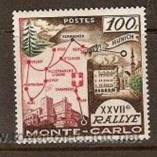 Sellos: SELLO DE MONACO AÑO 1958 XXVII RALLY MONTECARLO FIJASELLOS TEMA COCHES. Lote 22906945