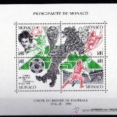 Sellos: MÓNACO AÑO 1990 YV HB 50*** COPA MUNDIAL DE FÚTBOL ITALIA 90 - DEPORTES - MAPAS. Lote 27401295