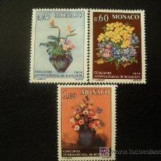 Sellos: MONACO 1973 IVERT 948/50 *** CONCURSO INTERNACIONAL DE RAMOS - FLORES - FLORA. Lote 18900172