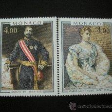 Sellos: MONACO 1980 IVERT 1245/6 *** PRINCIPES MONACO - ALBERTI I Y MARIE ALICE HEINE - CASA REAL - PINTURA. Lote 21398088