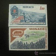 Sellos: MONACO 1977 IVERT 1121/2 *** 50 ANIV. FEDERACION TENIS Y CENTENARIO TORNEO WIMBLEDON - DEPORTES . Lote 22880422