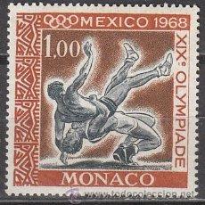 Sellos: MONACO (AÑO 1968), JUEGOS OLIMPICOS DE MEJICO, LUCHA, NUEVO. Lote 35008880
