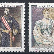 Sellos: MONACO 1980 - LOS PRINCIPES ALBERTO I Y MARIE ALICE HEINE - YVERT 1245-1246. Lote 25189698