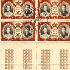 Sellos: MONACO 1956 - BODA DE GRACE KELLY Y RAINIERO DE MÓNACO - 19 ABRIL 1956.. Lote 37241750