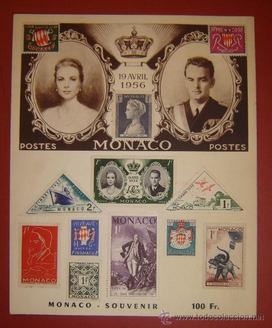 GRACE KELLY Y ALBERTO DE MONACO - HOJA CONMEMORATIVA BODA 1956 (Sellos - Extranjero - Europa - Mónaco)