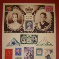 Sellos: GRACE KELLY Y ALBERTO DE MONACO - HOJA CONMEMORATIVA BODA 1956. Lote 37015167