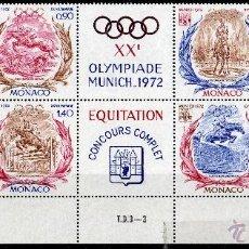 Sellos: MÓNACO AÑO 1972 YV 890/93*** JUEGOS OLIMPICOS DE MUNICH - EQUITACIÓN - DEPORTES - FAUNA - CABALLOS. Lote 39626693