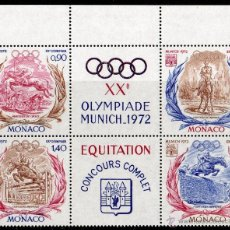 Sellos: MÓNACO AÑO 1972 YV 890/93*** [:::] JUEGOS OLIMPICOS DE MUNICH EQUITACIÓN DEPORTES FAUNA CABALLOS. Lote 39626707