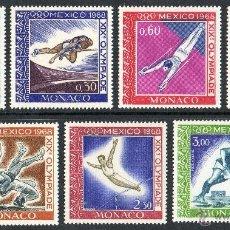 Sellos: MÓNACO AÑO 1968 YV 736/41*** + A92*** (AEREO) JUEGOS OLIMPICOS DE MEJICO - DEPORTES. Lote 40975781