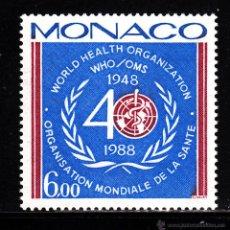 Sellos: MONACO 1636** - AÑO 1988 - 40º ANIVERSARIO DE LA ORGANIZACION MUNDIAL DE LA SALUD. Lote 41018281