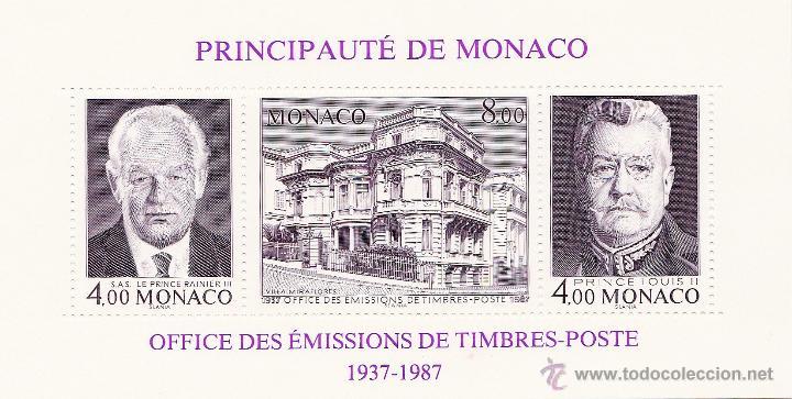 50 ANIVERSARIO DE LA EMISIÓN DEL SELLO. HOJITA DENTADA 3 VALORES. AÑO 1987. NUEVA. Nº 1828-30 (Sellos - Extranjero - Europa - Mónaco)