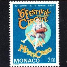 Sellos: MONACO 1753** - AÑO 1991 - FESTIVAL INTERNACIONAL DEL CIRCO. Lote 46681391