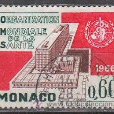 Sellos: MONACO IVERT 704, INAUGURACIÓN DE LA SEDE DE LA ORGANIZACIÓN MUNDIAL DE LA SALUD EN GINEBRA, USADO. Lote 47288883
