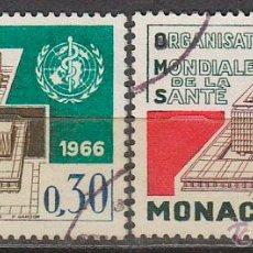 Sellos: MONACO IVERT 703/4, INAUGURACIÓN SEDE DE LA ORGANIZACIÓN MUNDIAL DE LA SALUD EN GINEBRA, USADOS. Lote 47288921