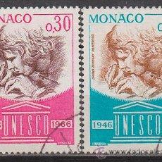 Sellos: MONACO IVERT 700/1, 20 ANIVERSARIO DE LA UNESCO, USADOS. Lote 47289042