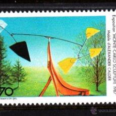 Sellos: MONACO 1578** - AÑO 1987 - EXPOSICIÓN MONTECARLO ESCULTURA 1987 - OBRA DE CALDER. Lote 47707844