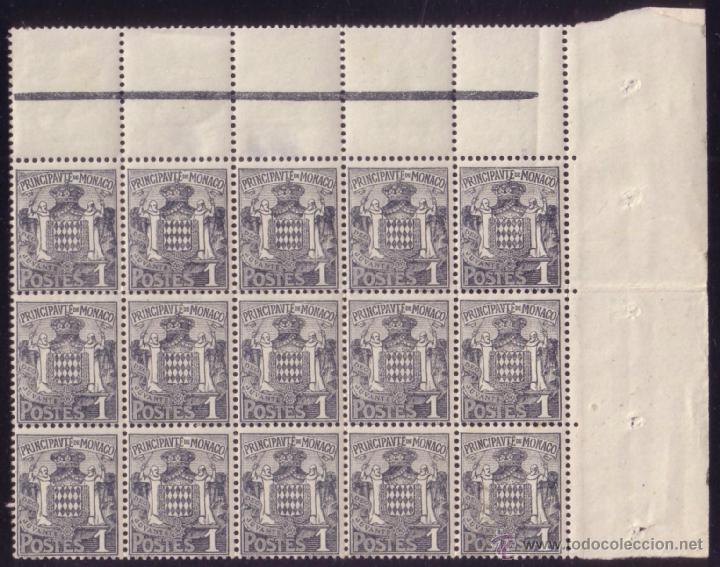 MÓNACO. (CAT. 73 (15)). * 1 C. GRAN BLOQUE DE 15 SELLOS (5 X 3) ESQUINA DE PLIEGO. MAGNÍFICO. (Sellos - Extranjero - Europa - Mónaco)