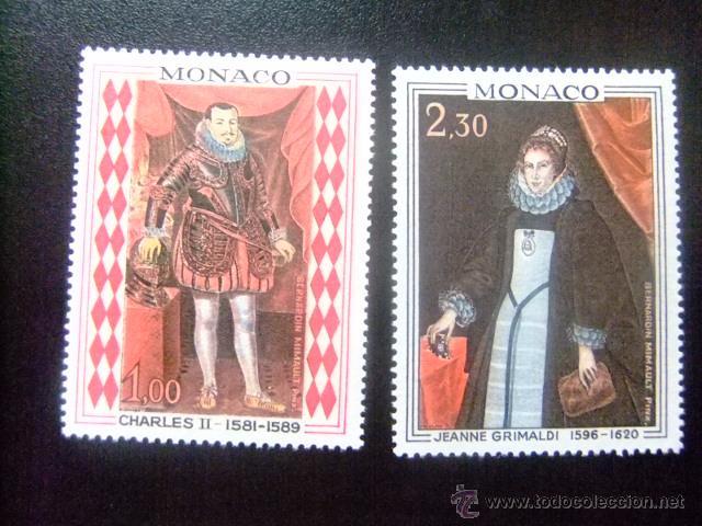 MONACO 1968 CARLOS II Y JEANNE GRIMALDI YVERT &TELLIER Nº 770 - 771 ** MNH (Sellos - Extranjero - Europa - Mónaco)