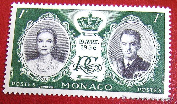ANTIGUO SELLO SIN USAR DE MÓNACO 1956 BODA DE PRINCESA GRACE KELLY Y PRINCIPE RAINIERO III PERFECTO (Sellos - Extranjero - Europa - Mónaco)