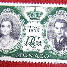 Timbres: ANTIGUO SELLO SIN USAR DE MÓNACO 1956 BODA DE PRINCESA GRACE KELLY Y PRINCIPE RAINIERO III PERFECTO. Lote 53401491