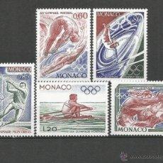 Sellos: MONACO JUEGOS OLIMPICOS DE MONTREAL YVERT NUM. 1057/1061 ** SERIE COMPLETA SIN FIJASELLOS. Lote 53590859