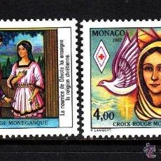 Sellos: MONACO 1987 IVERT 1594/5 *** CRUZ ROJA - VIDA DE SANTA DEVOTA - RELIGIÓN. Lote 54629342