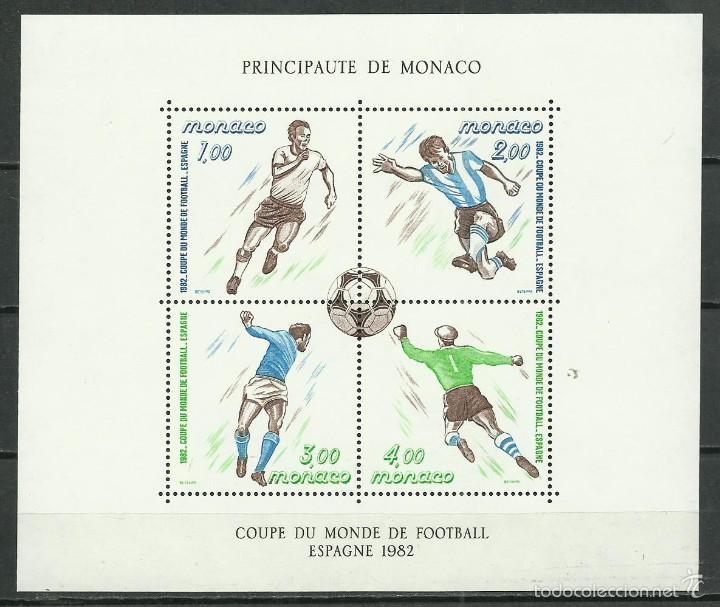 HOJA BLOQUE Nº 21 DE MONACO DE 1982 MUNDIAL DE FUTBOL DE ESPAÑA NUEVA PERFECTA (Sellos - Extranjero - Europa - Mónaco)
