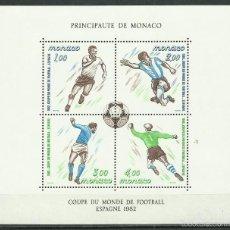 Sellos: HOJA BLOQUE Nº 21 DE MONACO DE 1982 MUNDIAL DE FUTBOL DE ESPAÑA NUEVA PERFECTA. Lote 57357143