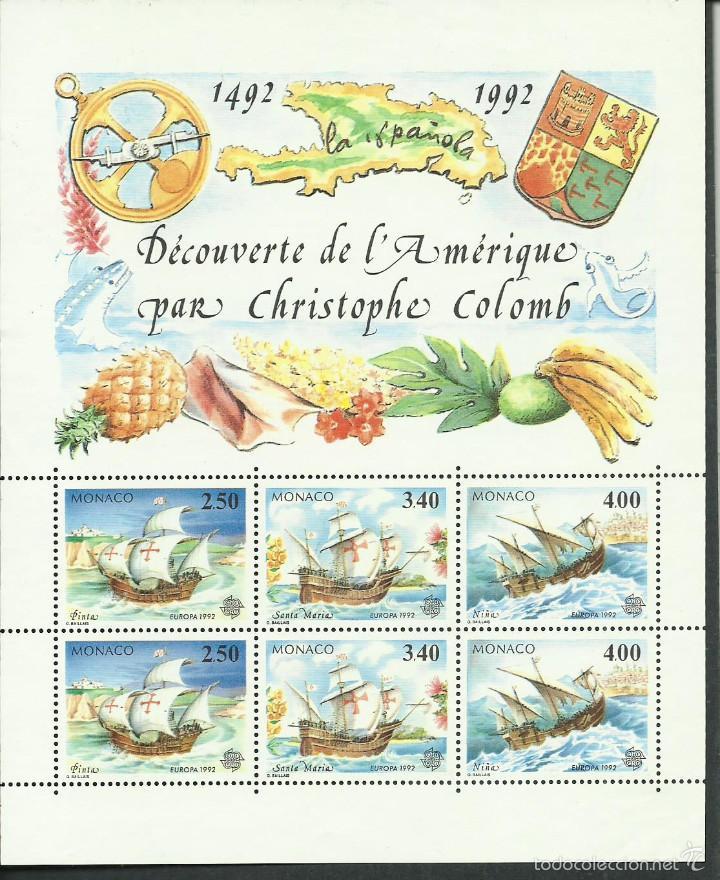 HOJA BLOQUE Nº 57 DE MONACO DE 1992 500 ANIVERSARIO DEL DESCUBRIMIENTO DE AMERICA POR COLON PERFECTA (Sellos - Extranjero - Europa - Mónaco)