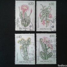 Sellos: MÓNACO. YVERT 1915/8. SERIE COMPLETA USADA. FLORA. CACTUS.. Lote 112940427