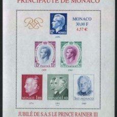 Sellos: MONACO - 50 ANIV. ASCENSION AL TRONO DEL PRINCIPE RAINIERO III - HB (1999) **. Lote 114922995