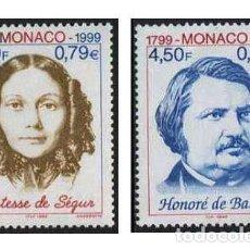 Sellos: MONACO - 200 ANIV. NACIMIENTO DE HONORE DE BALZAC Y CONDESA DE SEGUR (1999) **. Lote 114924503