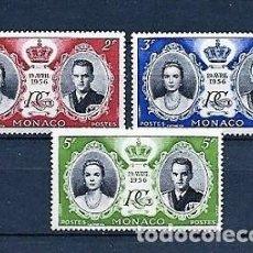 Francobolli: MÓNACO,1956,BODA DE LOS PRÍNCIPES,NUEVOS,MNH**,YVERT 474-476. Lote 130649808