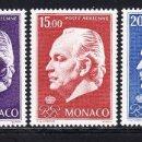 Sellos: MONACO 1974 AEREO IVERT 97/9 *** PRINCIPE RAINIERO III - CASA REAL - PERSONAJES. Lote 132139318