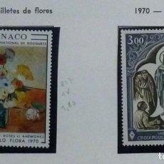 Sellos: MONACO 1970- NUEVA- 2 SELLOS- FLORES/CRUZ ROJA. Lote 142847494