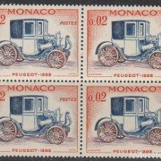 Sellos: MONACO IVERT 558, PEUGEOT DE 1898, NUEVO *** EN BLOQUE DE 4. Lote 146888030