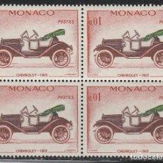 Sellos: MONACO IVERT 557, CHEVROLET DE 1912, NUEVO *** EN BLOQUE DE 4. Lote 146888178
