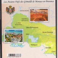 Sellos: MONACO 2011 HOJA BLOQUE ANTIGUOS FEUDOS DE LOS GRIMALDI DE MONACO. Lote 148482614