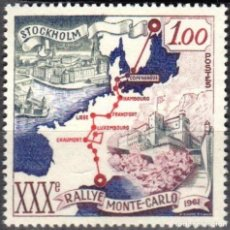 Sellos: MONACO - 1 SELLO IVERT 556 (1 VALOR) - RUTA ESTOCOLMO MONTECARLO 1961 - NUEVO-GOMA ORIGINAL. Lote 151564034