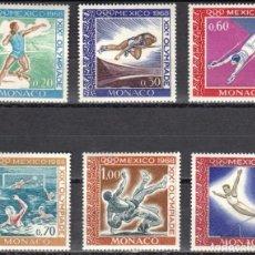 Sellos: MONACO - 1 SERIE IVERT 736-41 (6 VALORES) - JUEGOS OLIMPICOS DE MEXICO 1968 - NUEVO-GOMA ORIGINAL. Lote 151565738