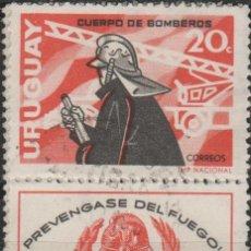 Sellos: LOTE 10 SELLOS VIÑETA BOMBEROS URUGUAY. Lote 171239855