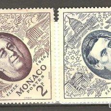 Sellos: MONACO,1956, 2 V, FIJASELLOS, SIN GOMA, YT 445/446. Lote 187217446