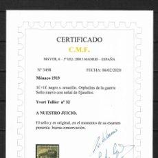 Sellos: MONACO 1919 IVERT TELLIER Nº 32 * NUEVO CERTIFICADO C.M.F. 400€ - 18/29. Lote 193362502