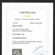 Sellos: MONACO 1920-21 IVERT TELLIER Nº 46 * NUEVO CERTIFICADO C.M.F. 420€ - 18/29. Lote 193363056