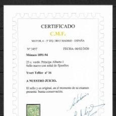 Sellos: MONACO 1891-94 IVERT TELLIER Nº 16 * NUEVO CERTIFICADO C.M.F. 420€ - 18/29. Lote 193363466