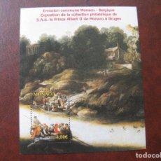 Sellos: MONACO 2012, HOJITA BLOQUE OBRA DE J.BRUEGHEL, EMISIÓN CONJUNTA CON BÉLGICA. Lote 203265560