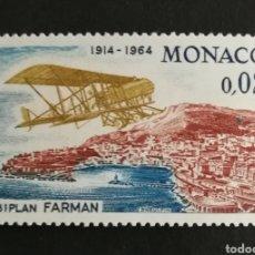 Sellos: MONACO, AVION FARMAN 1964 MNH (FOTOGRAFÍA REAL). Lote 205175222