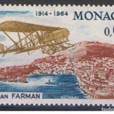 Sellos: MONACO // YVERT 638 // 1964 ... NUEVO. .. AVIONETA : BIPLAN FARMAN. Lote 207200167